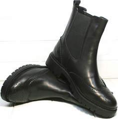 Черные кожаные ботинки женские Jina 7113 Leather Black