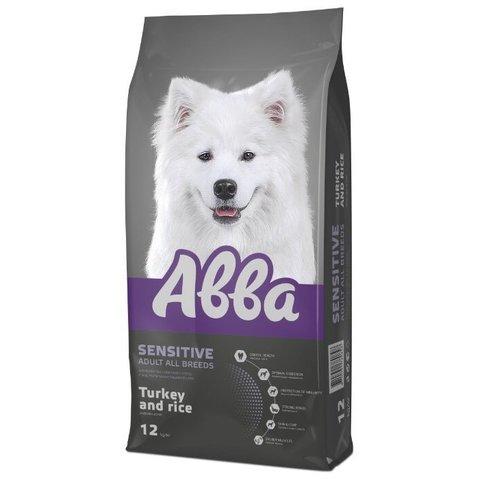 ABBA Sensitive корм для взрослых собак всех пород с чувствительным пищеварением индейка и рис, 12 кг.