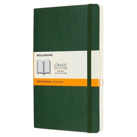 Блокнот Moleskine CLASSIC SOFT QP616K15 Large 130х210мм 192стр. линейка мягкая обложка зеленый