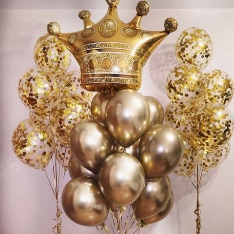 Сет воздушных шаров Корона в золоте