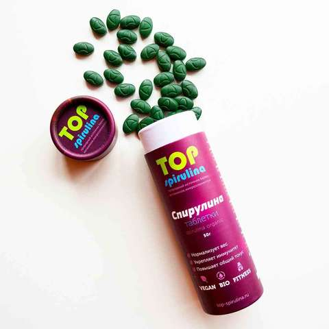 Спирулина 100% organic в таблетках, в тубусе 50 г