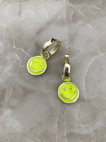 Серьги Эмодзи из серебра с желто-зеленой эмалью