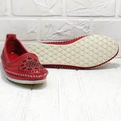 Кожаные женские балетки туфли на плоской подошве Rozen 212 Red.