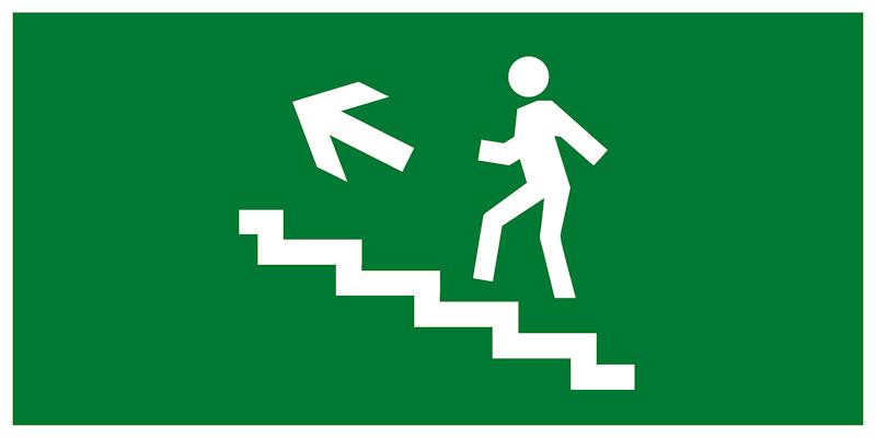 Эвакуационный знак – Направление движения к эвакуационному выходу по лестнице вверх налево