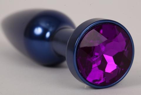 Анальная пробка металл 11,2х2,9см  синяя с фиолетовым 47197-MM