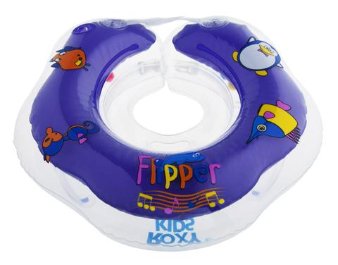 Надувной круг на шею для купания малышей Flipper 0+ с музыкой