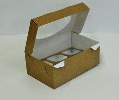 Коробка для 6 капкейков 25*17*10 с окном, крафт/белая