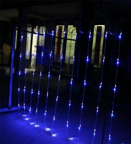 Водопад гирлянда синий цвет свечение