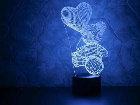 3D ночник Абстракция Медвежонок с шариком