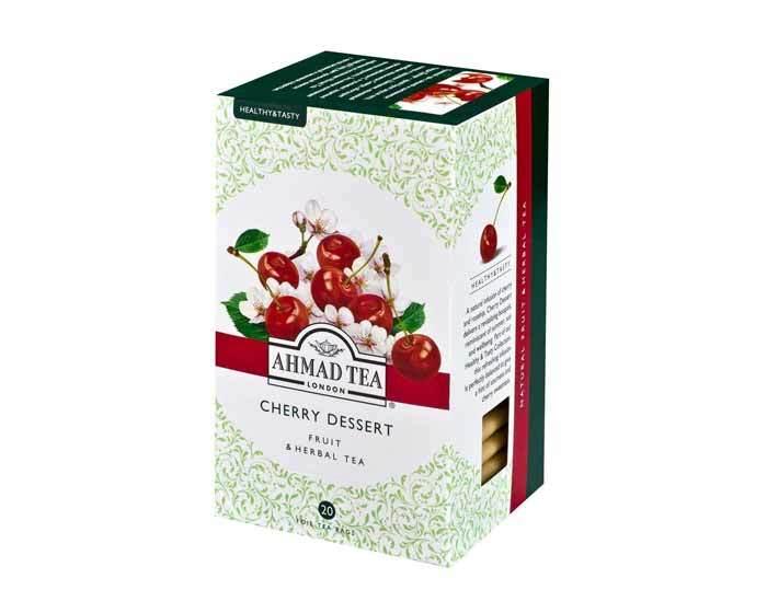 Чай травяной в пакетиках из фольги Ahmad Tea с вишней и шиповником (Черри Десерт), 20 пак/уп