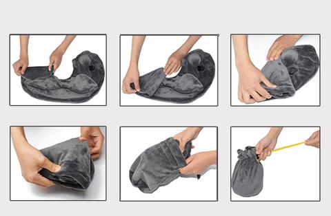 Самонадувающаяся вельветовая подушка для шеи