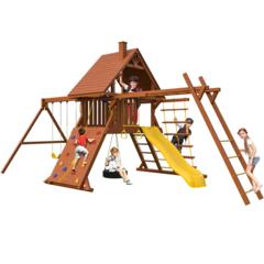 Детский городок New Sunrise Зарница с деревянной крышей и рукоходом