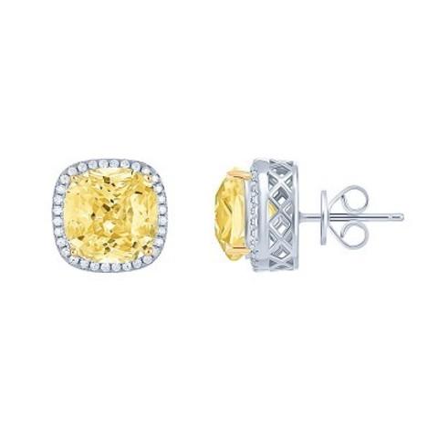 4735 - Пусеты CARATS  из серебра с желтыми цирконами
