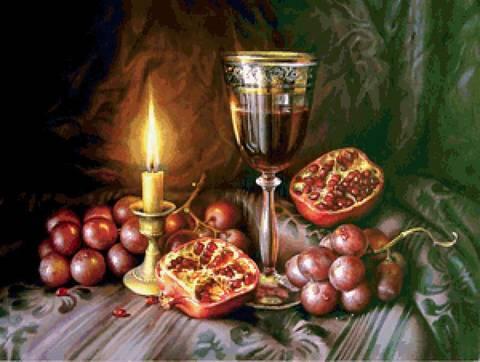 Картина раскраска по номерам 40x50 Натюрморт с вином