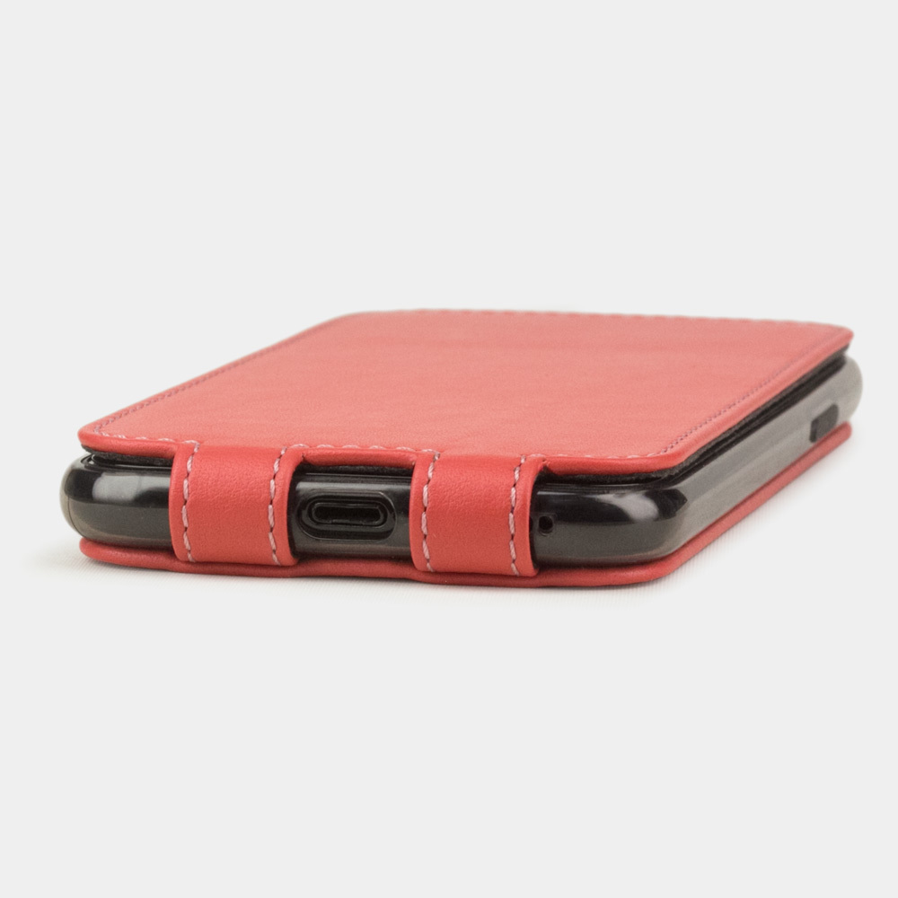 Чехол для iPhone 11 Pro Max из натуральной кожи теленка, кораллового цвета