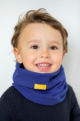 детский снуд-горловинка из хлопка гладкий сине-фиолетовый