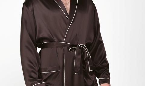 Мужской  халат из натурального щелка Luxe Dream шоколадный