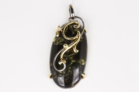 Подвеска с янтарем из серебра 925