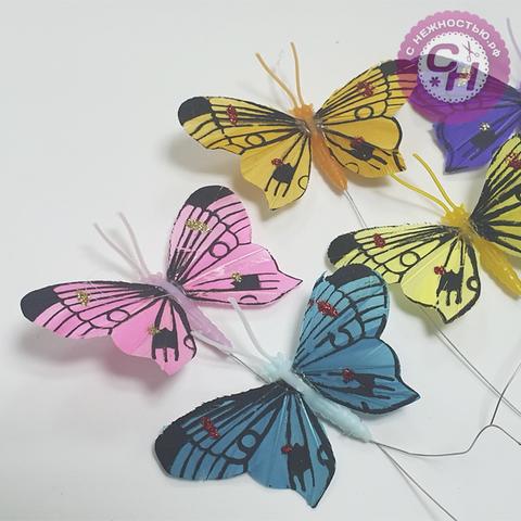 Бабочки декоративные на проволоке разноцветные, 6 см, 1 шт.