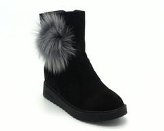Ботинки жен велюр чер зима