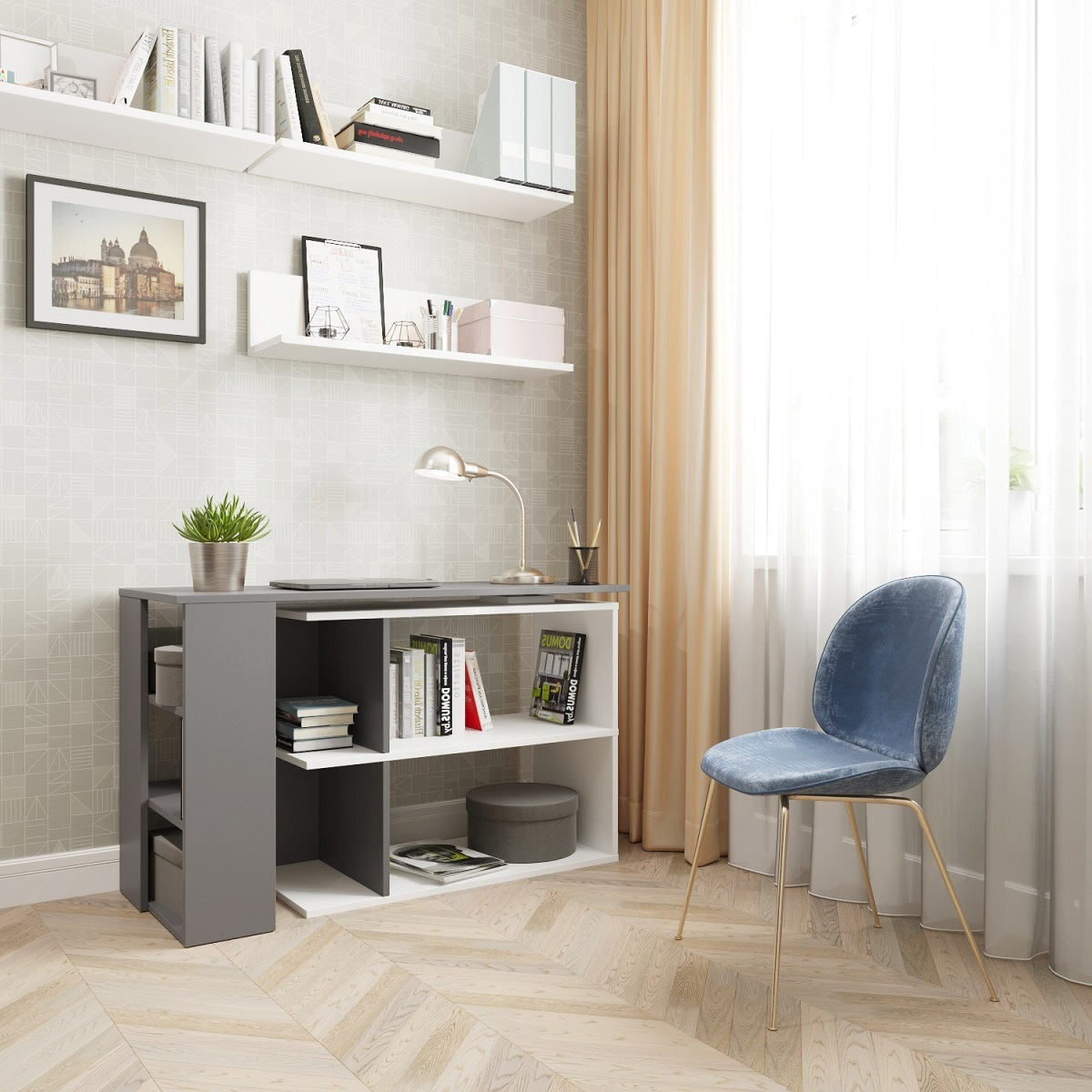 Угловой поворотный стол ДОМУС СТР08 белый/серый
