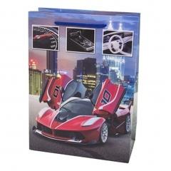 Пакет подарочный, Красный суперкар, Синий, 24*18*9 см, 1 шт.