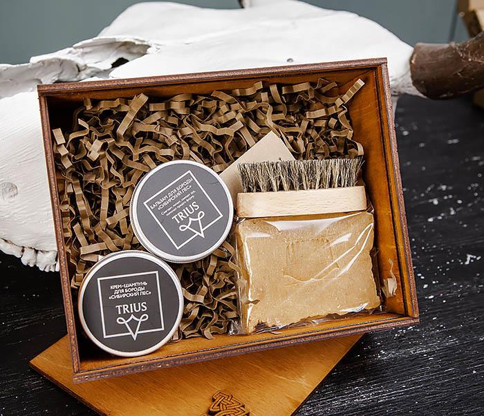 Набор средств для ухода за бородой и телом с щеткой