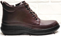 Кожаные женские ботинки в спортивном стиле Evromoda 535-2010 S.A. Dark Brown.
