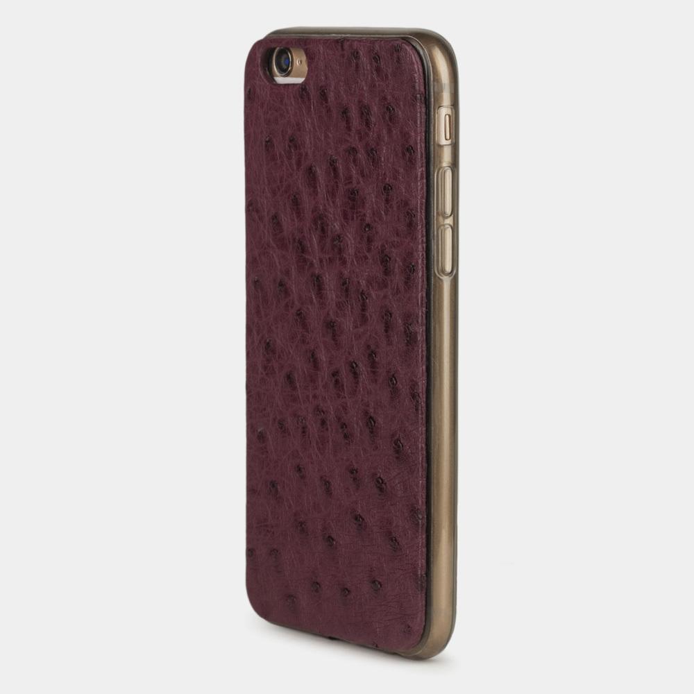 Чехол-накладка для iPhone 6/6S из натуральной кожи страуса, цвета баклажан