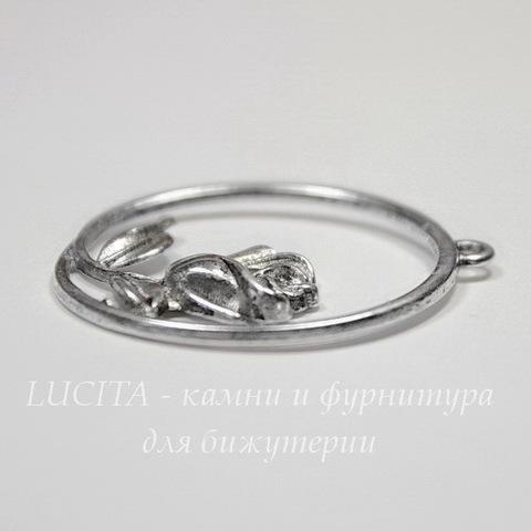 """Подвеска """"Роза в рамке"""" 36х34 мм (цвет - античное серебро)"""
