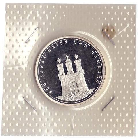 10 марок 1989 год (J) 800 лет Гамбургскому порту  Германия PROOF в родной запайке
