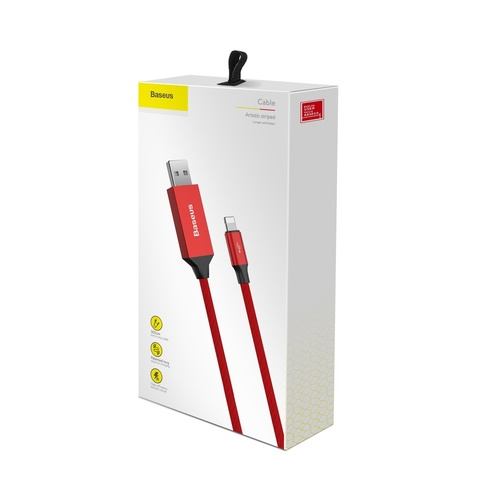 Кабель Baseus Artistic striped USB cable For iP 5M Red