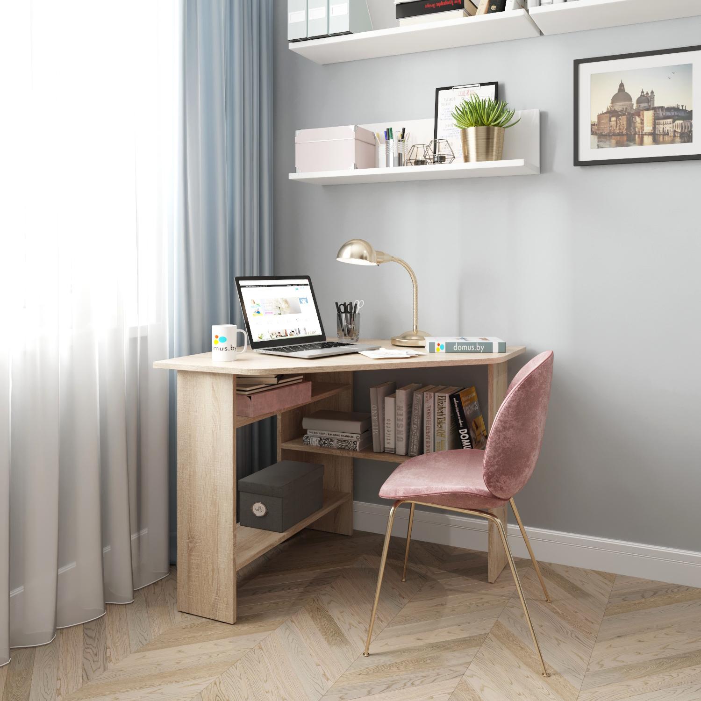 Угловой письменный стол ДОМУС СП011 дуб сонома