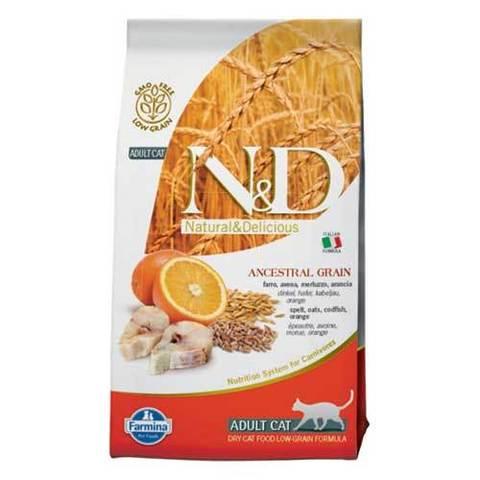 10 кг. FARMINA N&D LG Сухой низкозерновой корм для взрослых кошек с треской, апельсином, спельтой и овсом Adult Cat Godfish&Orange