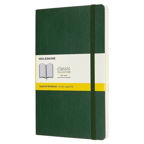 Блокнот Moleskine CLASSIC SOFT QP617K15 Large 130х210мм 192стр. клетка мягкая обложка зеленый