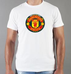 Футболка с принтом FC Manchester United (ФК Манчестер Юнайтед) белая 0012