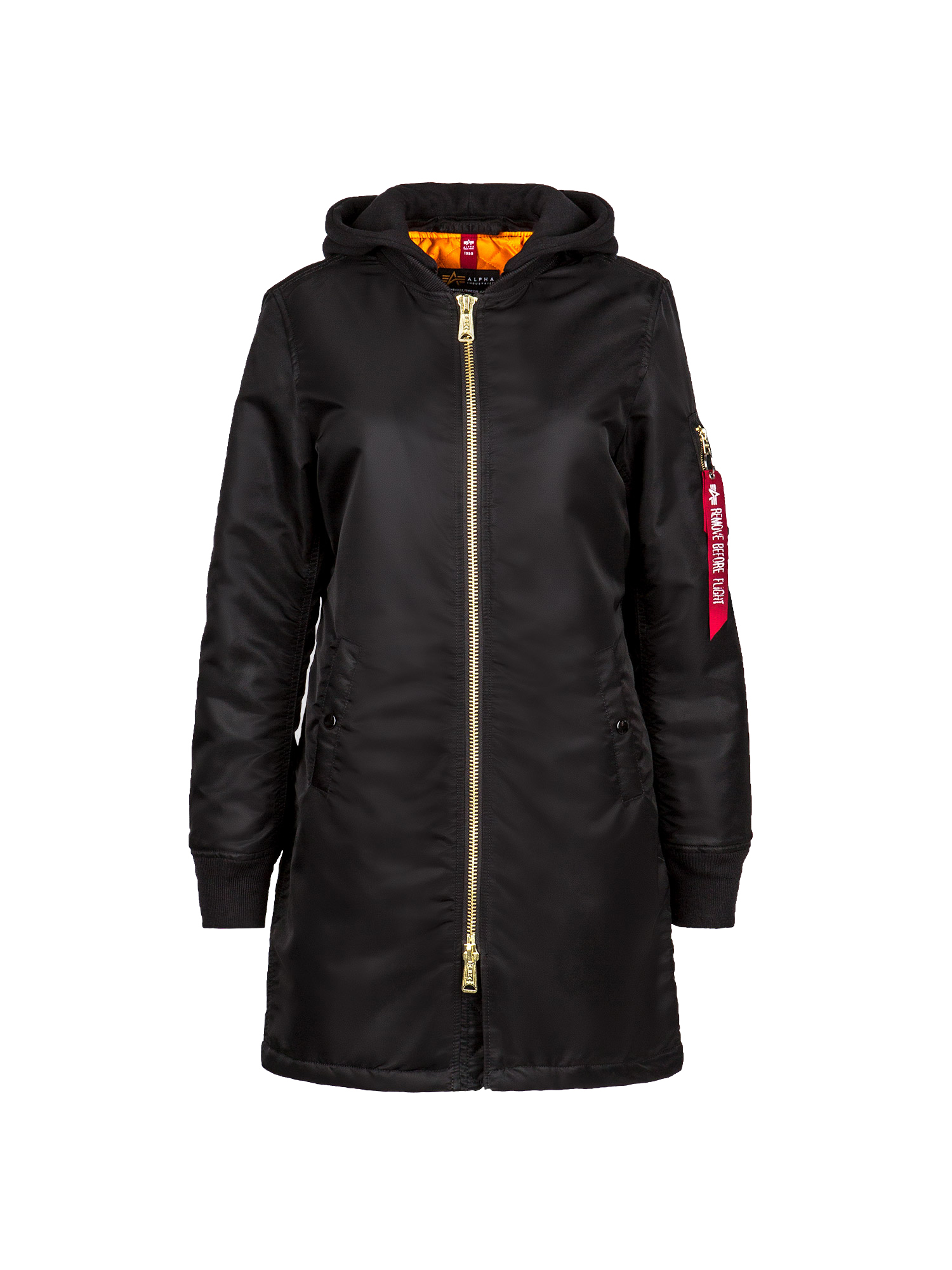 парка Alpha Industries MA-1 Natus Long W Black (черная)
