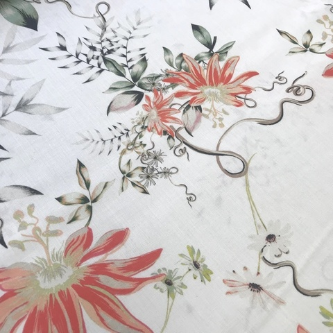 Ткань вискоза белая коралловыми цветами 3257