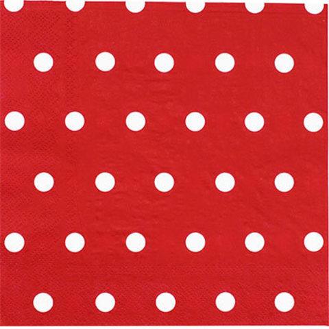 1502-3934 Салфетки Горошек красные 33см, 12шт