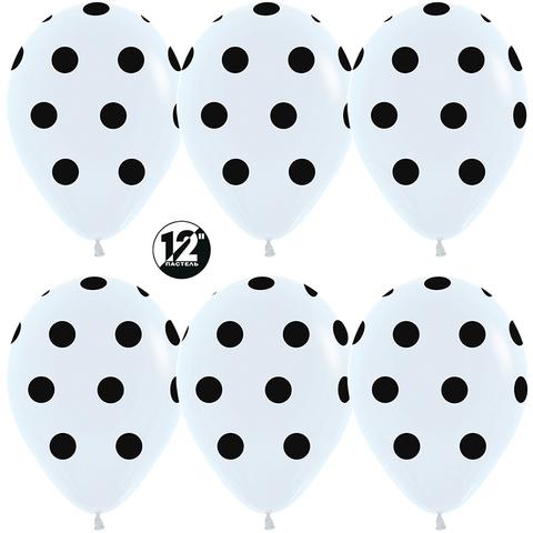 S 12'' Черные точки, Белый (005), пастель, 5 ст
