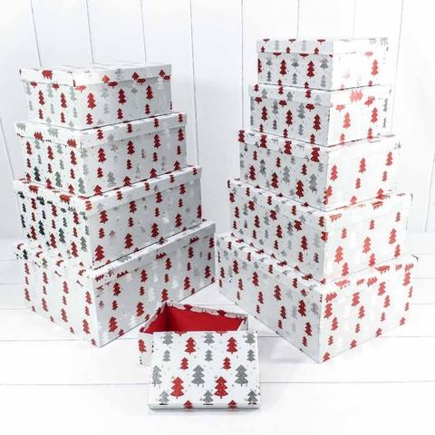 Коробка Новогодние елочки, Белый, Металлик, 37*29*16 см