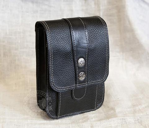 BAG379 Стильная сумка на пояс из двух сортов натуральной кожи