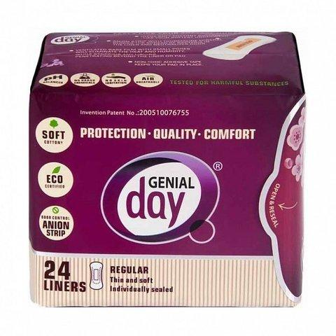 Гигиенические женские эко-прокладки GENIAL DAY ежедневные, упак.24 шт (ЖЕНСКИЙ СЕКРЕТ)