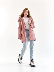 Женская парка Харди серо-розовый
