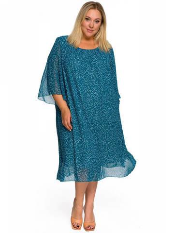 Платье  шифоновое бирюзовое Горох