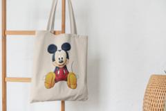 Сумка-шоппер с принтом Микки Маус (Mickey Mouse) бежевая 008