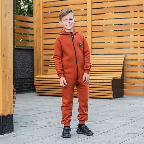 Warm hooded jumpsuit with pockets for teens - Terracotta