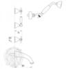 Смеситель для ванны встроенный с душем Migliore Princeton Plus ML.PRP-8018 схема