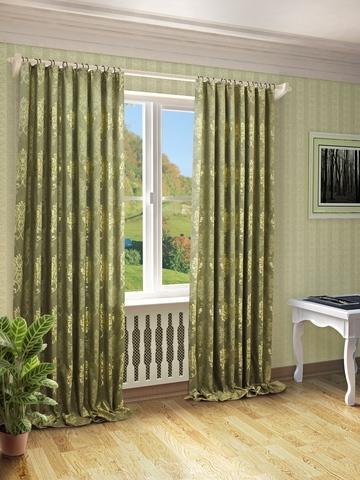 Готовые шторы Оливия зеленый