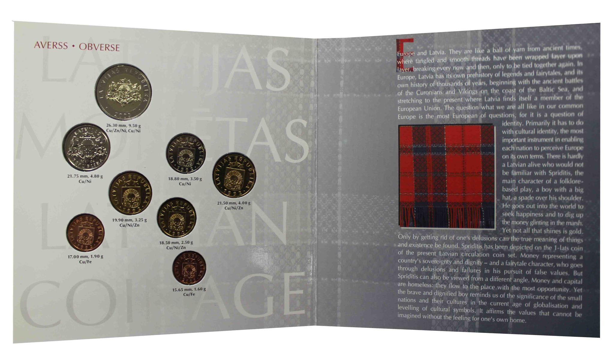 Набор Латвия из 8 монет 1992, 2003, 2004 (1, 2, 5, 10, 20, 50 центов; 1 и 2 лата мальчик и корова)